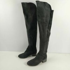 WOMENS NEXT BLACK FAUX SUEDE HEELED KNEE HIGH BOOTS SHOES UK 4 EU 37
