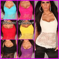 SEXY HALTER NECK STRAPPY TOP LADIES 6 8 10 WOMEN CASUAL SUMMER LACE SHIRT XS S M