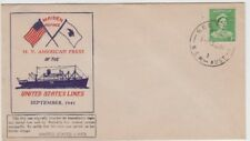 Stamp 1d green issue 1941 M.V American Press ship maiden voyage souvenir cover