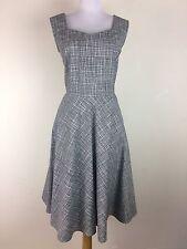 Retro Dress Black White vtg 40s style Cotton Rockabilly Swing Sleeveless Size M