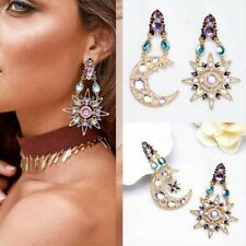 Colorful Elegant Crystal Long Moon Sun Pendant Stud Drop Earrings Jewelry Gift