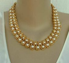 Vintage NAPIER Faux Pearls Gold Tone Necklace Choker Ca.1965-70