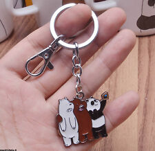 TV SHOW We Bare Bears Keychain Keyring Grizzly Panda Ice Bear Metal Pendant Gift