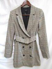 Forever 21 Black & Brown Plaid V Neck Belted Short Mini Suit Dress Sz S