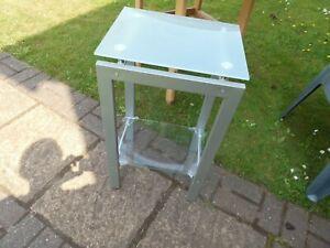 small metal glass table