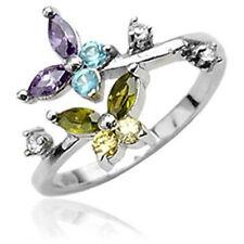 .925 Sterling Silver Toe Ring W/ Multicolored Butterfly Cz Gems (toe-5L)
