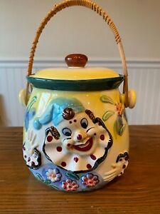 Vintage Clown Cookie Jar Japanese with rattan handle/ no chips/vibrant colors