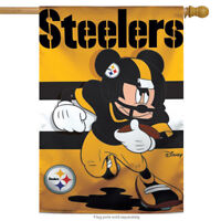 "Pittsburgh Steelers NFL Mickey Mouse Football House Flag Licensed 28"" x 40"""