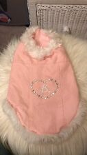 Barbie Dog light spring fall Coat Size Medium pink with white faux fur trim