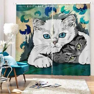 White Cat Protection 3D Curtain Blockout Photo Printing Curtains Drape Fabric