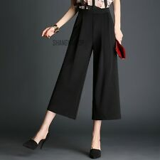 Ladies Wide Leg Pants Trousers Flared Loose High Waist Casual White Black Solid
