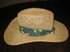 Dorfman Pacific Fedora Straw Hat with Colorful Hat Band Golf Theme Size S/M