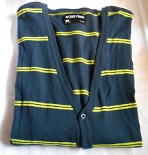Zoo York Men's Striped Vee Neck Cardigan Sweater Navy XXL NWT