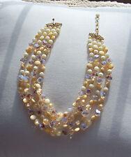 Vintage 4 Strand Glass Bead Necklace Signed Marvella