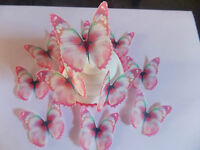12 PRECUT Edible Pink Butterfly wafer/rice paper cake/cupcake toppers(a)