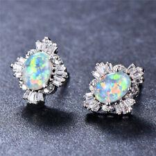 Cute Oval Cut White Blue Green Fire Opal Crystal Snowflake Stud Earrings Jewelry