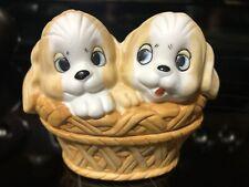 Vintage Collectible Lefton Porcelain Puppy Dogs In Basket Trinket Box