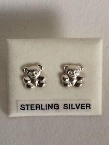 Sweet Sterling Silver Teddy Bear Earrings