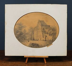 W. Watts, 1830 | Signed Old Architectural Antique Pencil Drawing