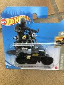Hot Wheels Baja Blazers 9/10 Ducati Scrambler #169 BNIB Matte Black