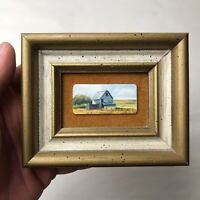 Helen Miles Miniature Painting on Piano Key Country Barn Landscape Framed