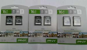 Lot of 6 PNY 16GB Elite SDHC Flash Memory Cards 85 MB/s THREE 2 Packs. BRAND NEW