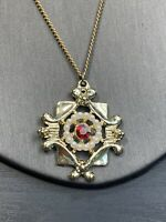 Vintage 1950S Gold Pendant Necklace Clasp Pearl Red Aurora Borealis Crystal