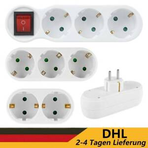 EU Steckdose Steckdosenleiste Mehrfachsteckdose Steckdosenverteiler Adapter DHL