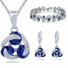 Blue Simulated Sapphire Zirconia Set Necklace Earrings Bracelet White Gold Plate