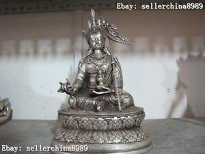 Tibet Buddhist White Copper Silver Lotus Padmasambhava Master Buddha Statue