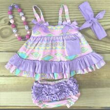 Easter Toddler Girl Baby Girls  Purple Tribal Swing Top Boutique Outfit Clothes