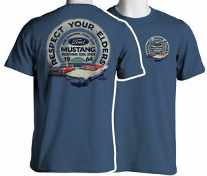 Respect Your Elders - Mustang T-Shirt in Blue * Ships WORLDWIDE & Free to USA!