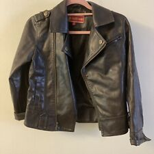 Girls Brown Faux Leather Jacket