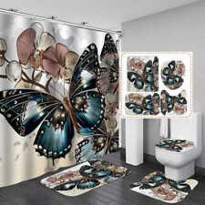Blue Butterfly Art Shower Curtain Bath Mat Toilet Cover Rug Bathroom Decor