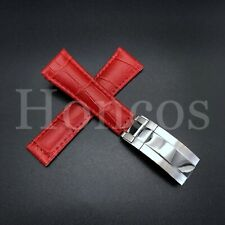 LEATHER BAND STRAP FOR ROLEX DAYTONA 16520 116518 RED REGULAR STEEL CLASP