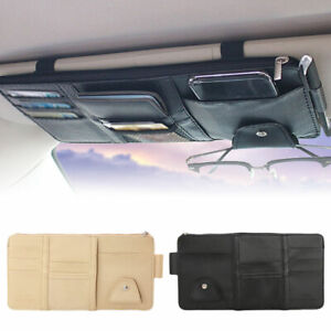 Car Interior Sun Visor Organizer Card Glasses Storage Bag Pocket Holder 2 Colour