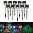 10Pcs Outdoor Garden Stainless Steel LED Solar Landscape Path Lights Yard Lamp