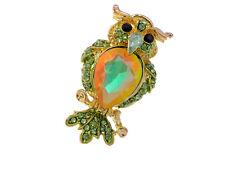 Green Lime Olivine Crystal Rhinestone Owl Bird Gold Tone Custom Adjustable Ring