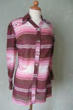 Einhorn   Bluse rosa / bordeaux / weiß langarm Streifen   Größe 38 M (K2) *