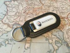 MASERATI PRINTED Quality Black Real Leather Key ring Fob