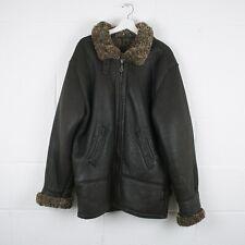 Vintage Black Aviator Flight Leather Shearling Jacket Size Mens Large /R40010