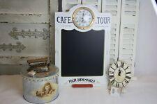 3 tlg Deko Paket Memo Board mit Uhr Tischuhr Steinoptik Blech Nähdose