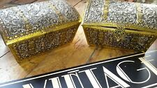 Antique vintage large pair puti biscuit tin box casket chest Huntley and palmer?