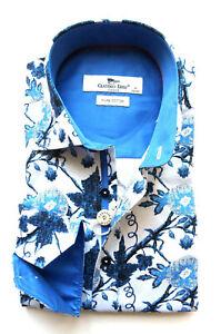 Men's Printed Shirt Slim Fit Long Sleeve Cotton Size S Claudio Lugli Blue Ivy