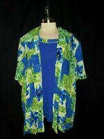 NEW C.M. SHAPES Plus Size 4X Blouse Shirt Top Blue Green Floral Short Sleeve