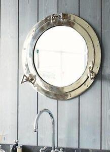 Porthole Mirror Large Silver Metal Nautical wall mirror Bathroom home