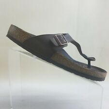 Birkenstock Womens Gizeh Sandals Shoes Thong Brown Leather Slide On Size 11 #K20