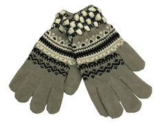 Warm Winter Gloves Knitted Womens Mens Christmas Snowflake Gloves Gray