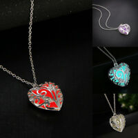 Unique Magical Fairy Glow in the Dark Pendant Locket Heart Luminous Necklace