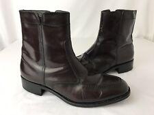 Vtg Beatle Boots Florsheim Mens 8.5 Leather Ankle Cordovan Zip Riding Dress Shoe